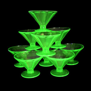 Estate Federal Green Depression Glass Fluted Sherbets or Champagne Coups X9 - Premier Estate Gallery