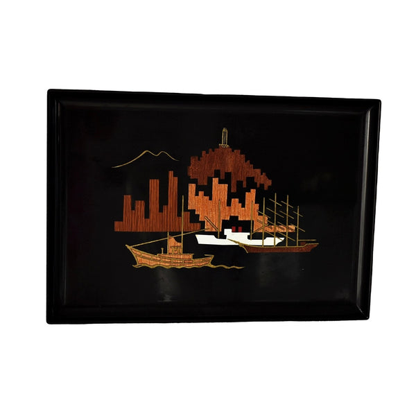 Vintage Gump's Acrylic Wood Brass Inlay Tray San Francisco Harbour MCM Decor  - Premier Estate Gallery 1