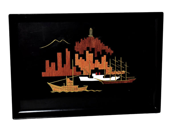 Vintage Gump's Acrylic Wood Brass Inlay Tray San Francisco Harbour MCM Decor  - Premier Estate Gallery