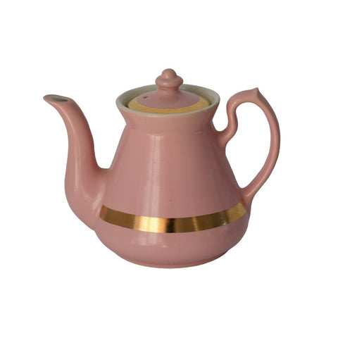 1940s Pink Hall China Teapot with Gold Trim 4 Cup Glamorous - Premier Estate Gallery
