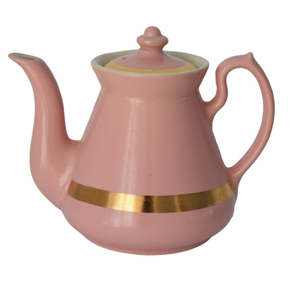 1940s Pink Hall China Teapot with Gold Trim 4 Cup Glamorous - Premier Estate Gallery 1