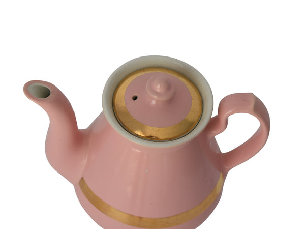 1940s Pink Hall China Teapot with Gold Trim 4 Cup Glamorous