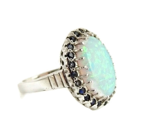 14k Lab Opal and Sapphire Ring White Gold