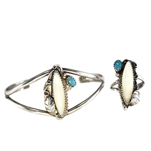 Vintage Silver Native American Cuff Bracelet Ring Set Turquoise Mother of Pearl c1960 - Premier Estate Gallery 1