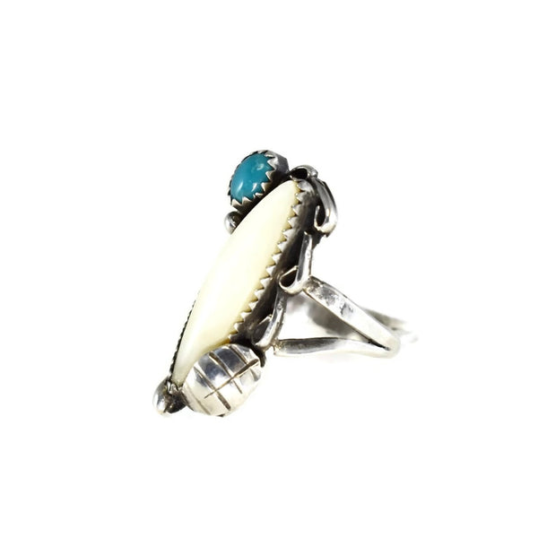 Vintage Silver Native American Cuff Bracelet Ring Set Turquoise Mother of Pearl c1960 - Premier Estate Gallery 4
