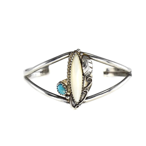 Vintage Silver Native American Cuff Bracelet Ring Set Turquoise Mother of Pearl c1960 - Premier Estate Gallery 5