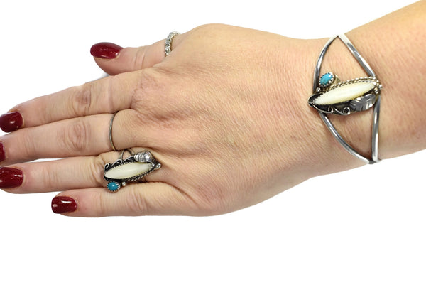 Vintage Silver Native American Cuff Bracelet Ring Set Turquoise Mother of Pearl c1960 - Premier Estate Gallery 6