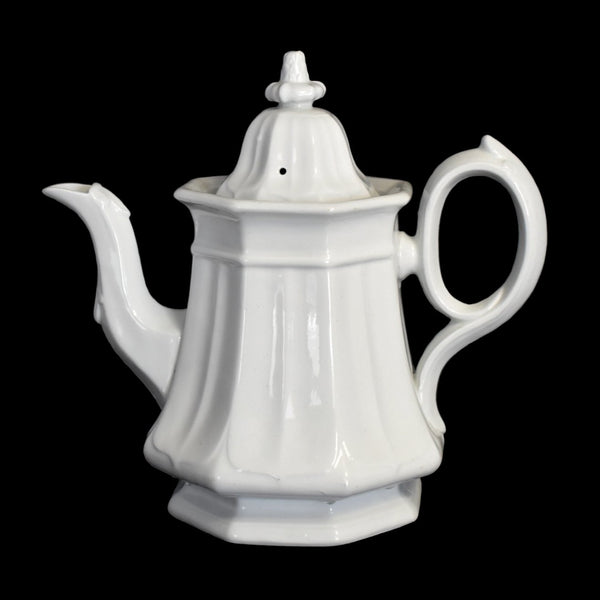 White Ironstone Teapot Coffee Pot French Country Decor TR Boote Staffordshire - Premier Estate Gallery