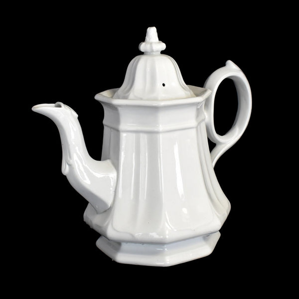 White Ironstone Teapot Coffee Pot French Country Decor TR Boote Staffordshire - Premier Estate Gallery 1