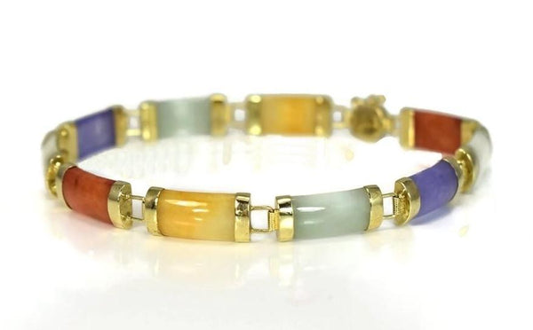 Vintage 14k Gold Multi Color Jade Link Bracelet - Premier Estate Gallery