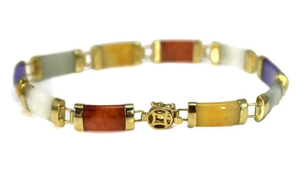 Vintage 14k Gold Multi Color Jade Link Bracelet - Premier Estate Gallery 2