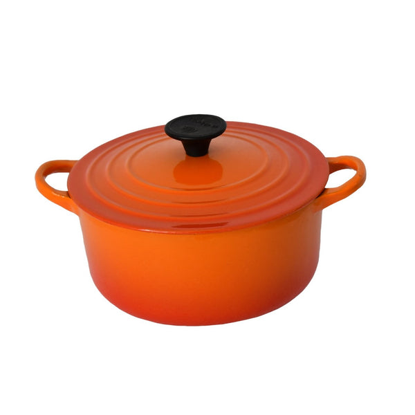 Vintage Le Creuset France Orange Flame Enamel Dutch Oven B 2 Quart - Premier Estate Gallery