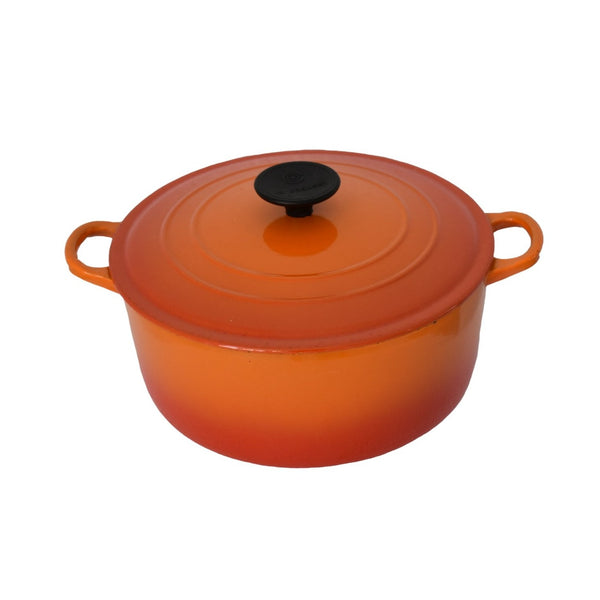 Le Creuset Orange Flame Enamel Cast Iron Dutch Oven 4.5 Quart - Premier Estate Gallery