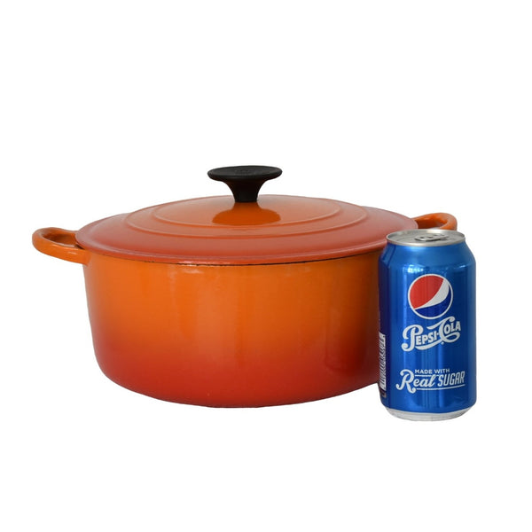 Le Creuset Orange Flame Enamel Cast Iron Dutch Oven 4.5 Quart - Premier Estate Gallery  3