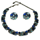 Lisner Vivid Shades of Blue Rhinestone Necklace Earrings Set Demi Parure c1950 - Premier Estate Gallery