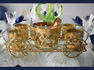 Hollywood Regency Culver Glass Valencia Barware Set Heavy 22k Gold  - Premier Estate Gallery