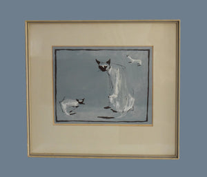 Mid Century Modern Watercolor Painting Siamese Cats Framed Matted Signed EXCELLENT MCM Decor - Premier Estate Gallery 2