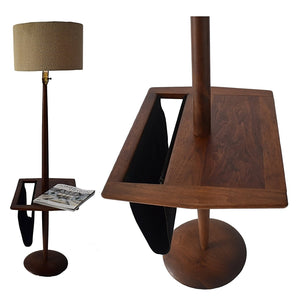 MCM Laurel Lamp Company Walnut Floor Lamp Magazine Holder Working c1960 - Premier Estate Gallery 1