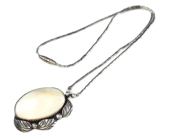 Sterling Silver Navajo Dave Scott MOP Bamboo Necklace Vintage - Premier Estate Gallery 4