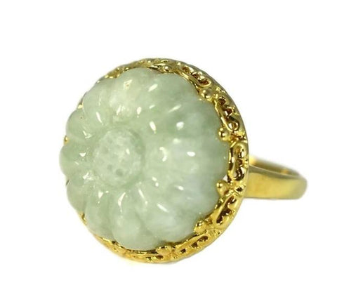 Estate 14k Celedon Jade Ring Carved Sunflower Ornate Setting Over 12 Carats - Premier Estate Gallery