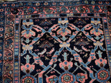Estate Antique Persian Malayer Rug Runner Hand Knotted Coral Navy Periwinkle c1920 - Premier Estate Gallery 1