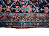 Estate Antique Persian Malayer Rug Runner Hand Knotted Coral Navy Periwinkle c1920 - Premier Estate Gallery 6