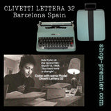 1971 Olivetti Lettera 32 Portable Typewriter w Case Turquoise Blue CLEAN Barcelona Spain