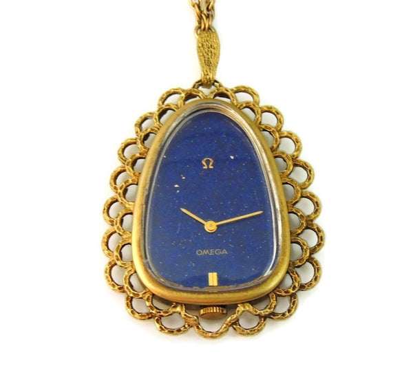 Rare Vintage Omega Watch Pendant Necklace 14k Gold and Lapis - Premier Estate Gallery  - 2