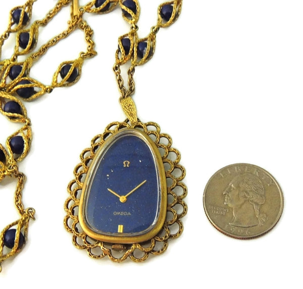 Rare Vintage Omega Watch Pendant Necklace 14k Gold and Lapis - Premier Estate Gallery  - 5