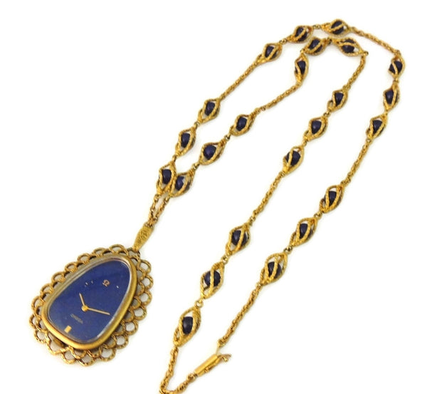 Rare Vintage Omega Watch Pendant Necklace 14k Gold and Lapis - Premier Estate Gallery  - 7
