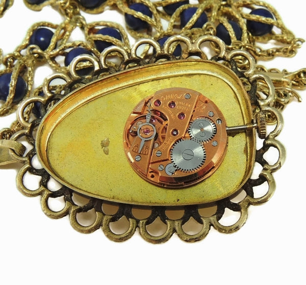 Rare Vintage Omega Watch Pendant Necklace 14k Gold and Lapis - Premier Estate Gallery  - 9