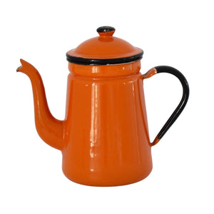 Vintage Orange Black Enamelware Coffee Pot No Insert 1950s Kitchen Decor - Premier Estate Gallery 1