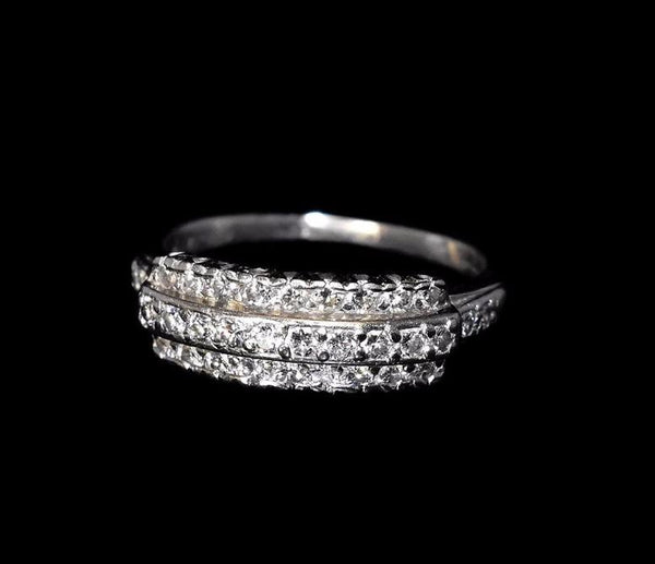 Estate Three Row Diamond Wedding Band Platinum Vintage .63 ctw - Premier Estate Gallery 2