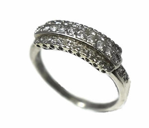 Estate Three Row Diamond Wedding Band Platinum Vintage .63 ctw - Premier Estate Gallery