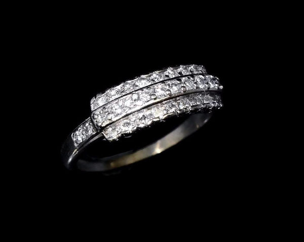 Estate Three Row Diamond Wedding Band Platinum Vintage .63 ctw - Premier Estate Gallery 4