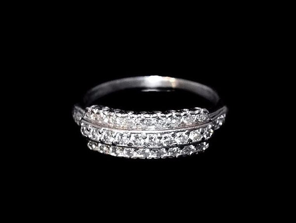 Estate Three Row Diamond Wedding Band Platinum Vintage .63 ctw - Premier Estate Gallery 5