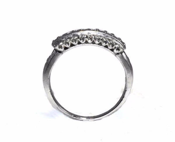 Estate Three Row Diamond Wedding Band Platinum Vintage .63 ctw