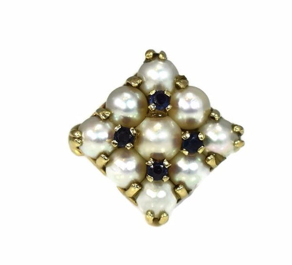 14k White Pearl and Sapphire Cocktail Ring Heavy Vintage Setting - Premier Estate Gallery 2