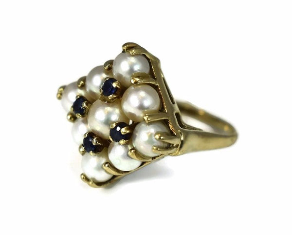 14k White Pearl and Sapphire Cocktail Ring Heavy Vintage Setting - Premier Estate Gallery 4