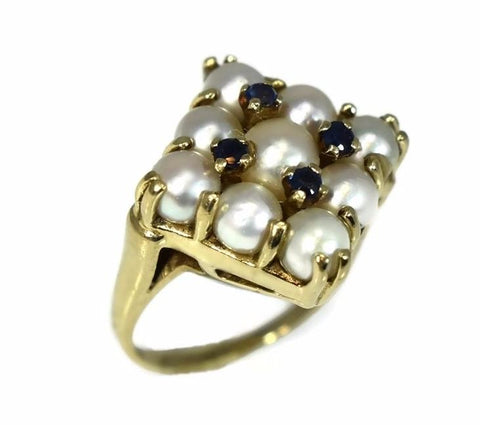 14k White Pearl and Sapphire Cocktail Ring Heavy Vintage Setting - Premier Estate Gallery