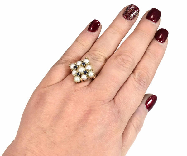 14k White Pearl and Sapphire Cocktail Ring Heavy Vintage Setting