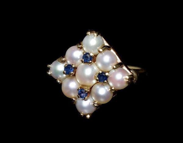 14k White Pearl and Sapphire Cocktail Ring Heavy Vintage Setting - Premier Estate Gallery 5