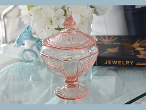 Pristine Anchor Hocking Pink Depression Glass Mayfair Covered Candy Dish  - Premier Estate Gallery 1