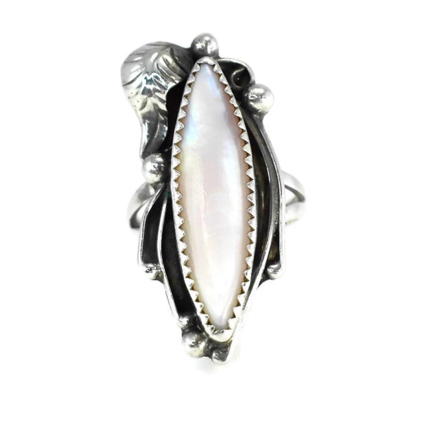 Vintage Silver Navajo Pink Shell Ring Big Elongated Setting Boho Style - Premier Estate Gallery