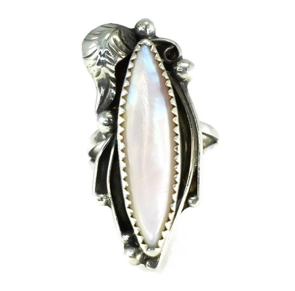 Vintage Silver Navajo Pink Shell Ring Big Elongated Setting Boho Style - Premier Estate Gallery 1