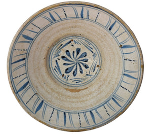 Farmhouse Blue and White Tin Glaze Decorated Earthenware Bowl c1840 Spain - Premier Estate Gallery