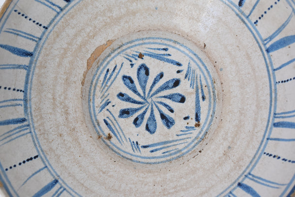 Farmhouse Blue and White Tin Glaze Decorated Earthenware Bowl c1840 Spain