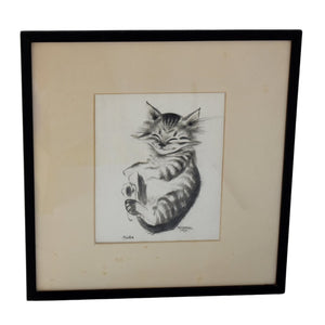 "Antique Happy Cat ""Pootie"" Drawing by Thelma Frazier Cowan Pottery Artist Signed Framed - Premier Estate Gallery"