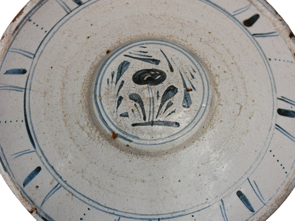 c1800 Blue and White Flower Decorated Bowl Farmhouse French Country Decor - Premier Estate Gallery 2
