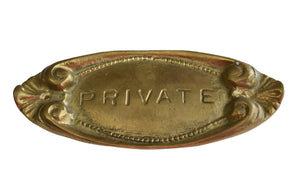 Vintage Victorian Brass PRIVATE Sign NOS New Old Stock c1950 - Premier Estate Gallery